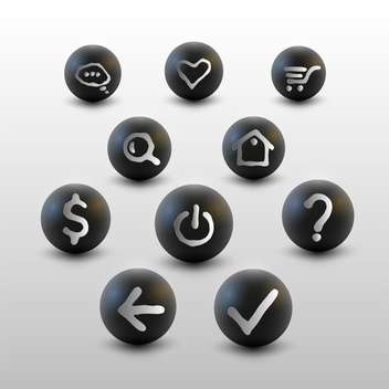 Vector set of web site black icons on white background - vector gratuit #127139