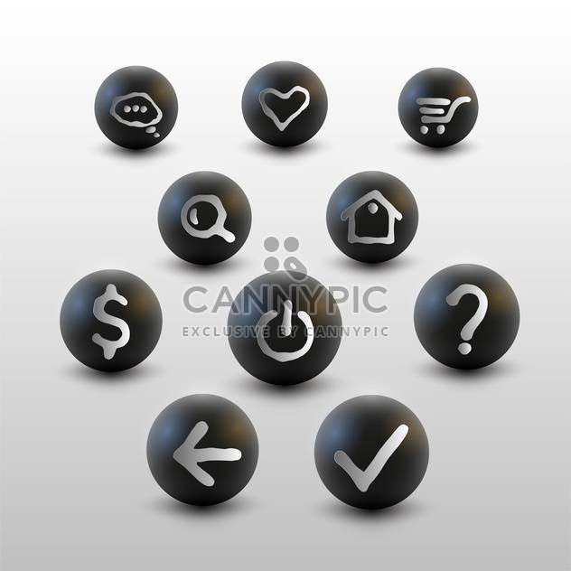 Vector set of web site black icons on white background - Free vector #127139