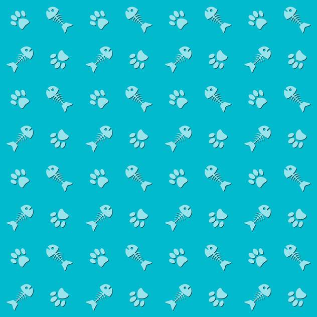 animal background with cat paw prints and fish bones - vector gratuit #127209