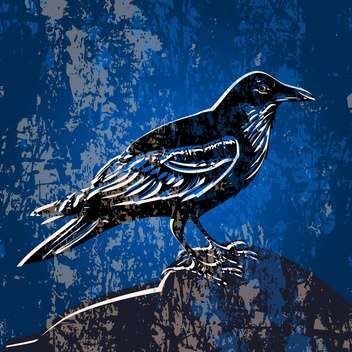 Vector grunge blue color background with crow - vector gratuit #127219