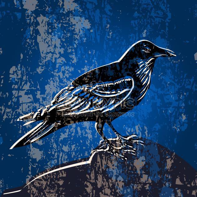 Vector grunge blue color background with crow - Free vector #127219