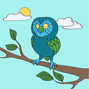 colorful illustration of blue owl in daytime - vector gratuit #127239