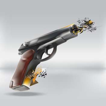 Vector illustration of abstract gun on grey background - Free vector #127249