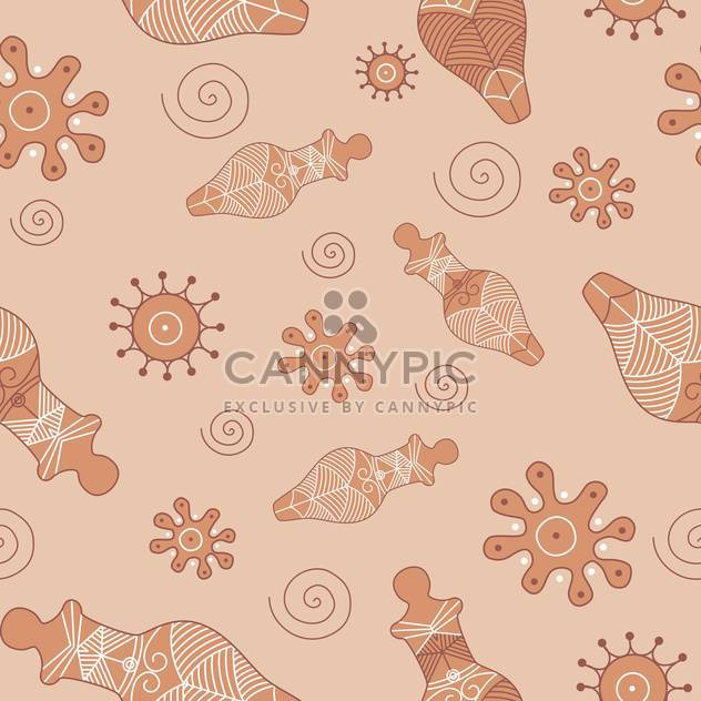 Vector illustration of antique oriental seamless pattern on brown background - Free vector #127309