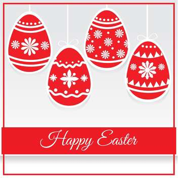 Happy Easter decorative card with red eggs - бесплатный vector #127409