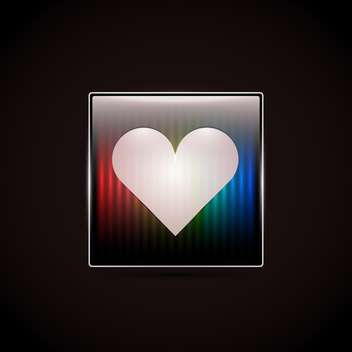 Love heart button on black background - vector gratuit #127459