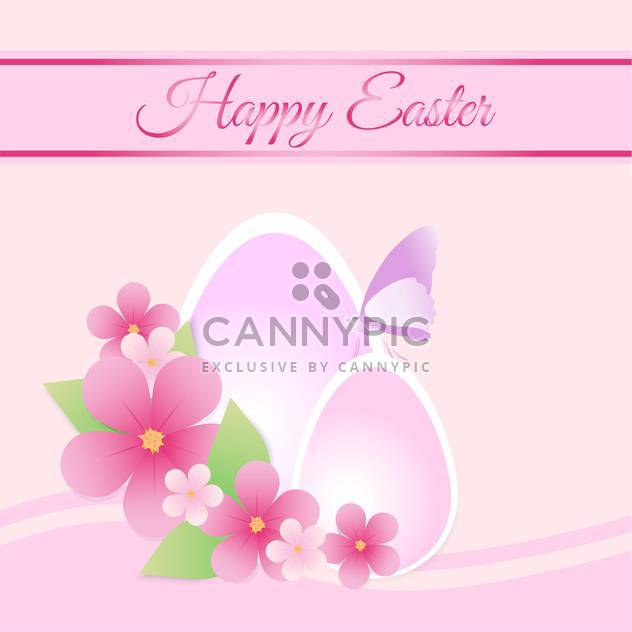 Happy Easter pink color Card - Free vector #127469