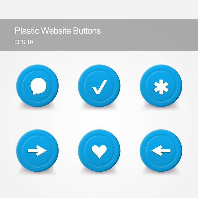 Plastic website buttons with round shaped icons on grey background - бесплатный vector #127489