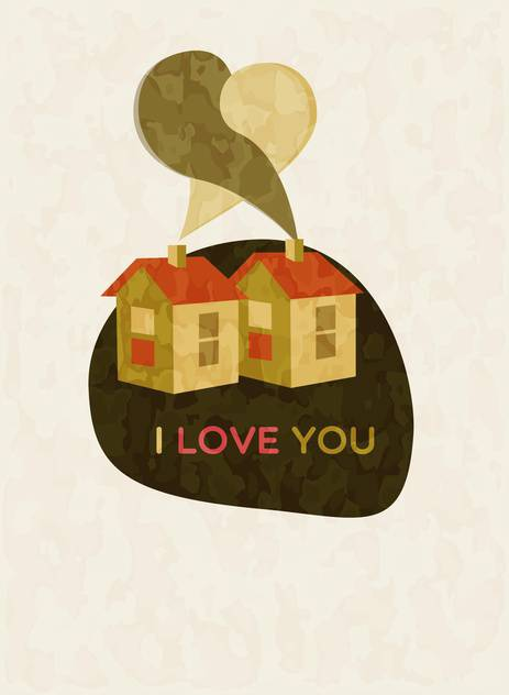 vector illustration of houses with i love you text - vector gratuit #127509