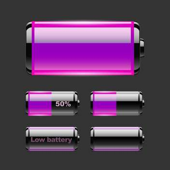 Vector set of battery charge on black background - vector gratuit #127539