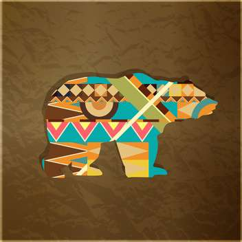 Silhouette of animal with colourful pattern on brown background - vector gratuit #127569