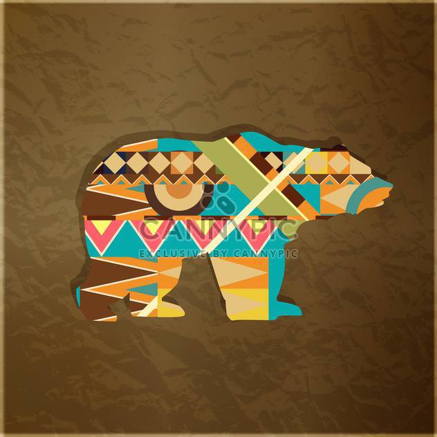 Silhouette of animal with colourful pattern on brown background - Free vector #127569