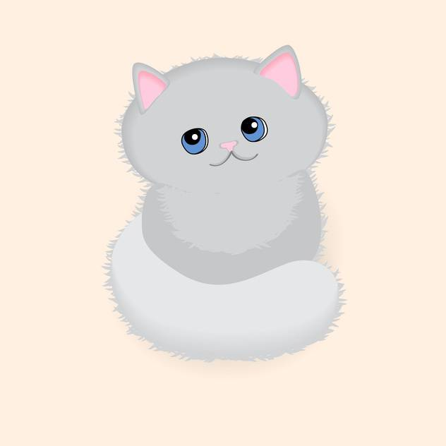 Pretty grey kitten with blue eyes on pink background - vector gratuit #127579