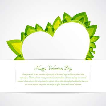 Heart with green leaves and text place - vector #127609 gratis