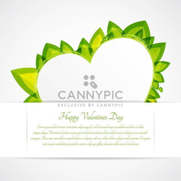 Heart with green leaves and text place - Free vector #127609