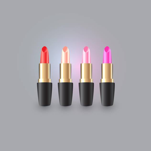 Vector illustration of fashion lipsticks on grey background - Free vector #127629