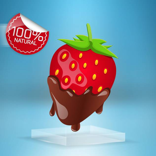 red strawberries in milk chocolate on blue background - vector gratuit #127649