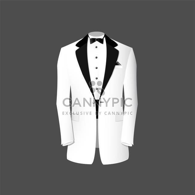 Vector illustration of white tuxedo on grey background - Free vector #127729
