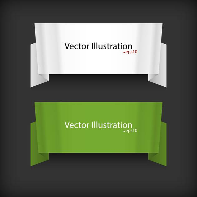 vector set of two ribbons on black background with text place - vector #127769 gratis