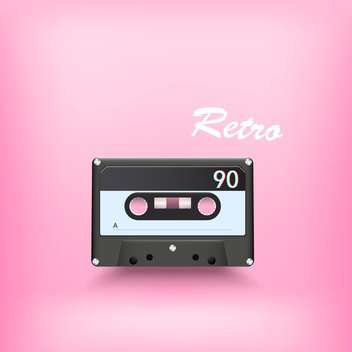 vector illustration of retro audio cassette on pink background - бесплатный vector #127839