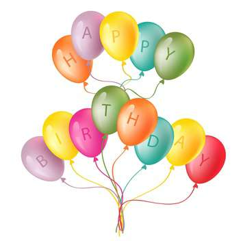 Happy birthday card with colorful balloons on white background - Kostenloses vector #127849