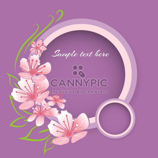 Vector background with pink spring flowers on violet background - Free vector #127939