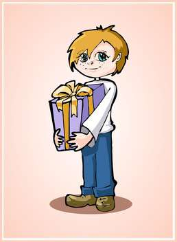 Casual young boy standing with gift box on pink background - бесплатный vector #127949