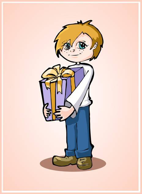 Casual young boy standing with gift box on pink background - vector gratuit #127949