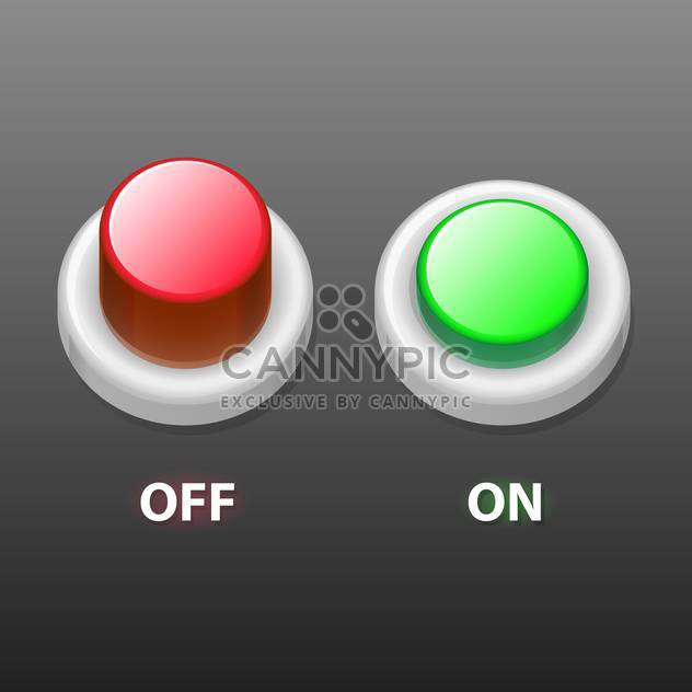 vector illustration of Off and on buttons on grey background - Free vector #127969