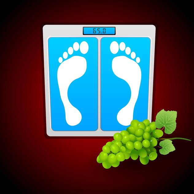 Personal bathroom scale with grape for diet or healthcare concept - vector gratuit #127999