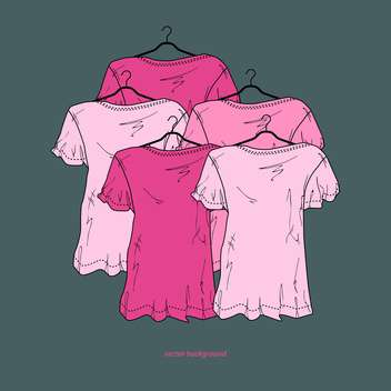 Green background with pink female shirts - vector gratuit #128009
