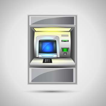 vector illustration of atm on grey background - vector gratuit #128019