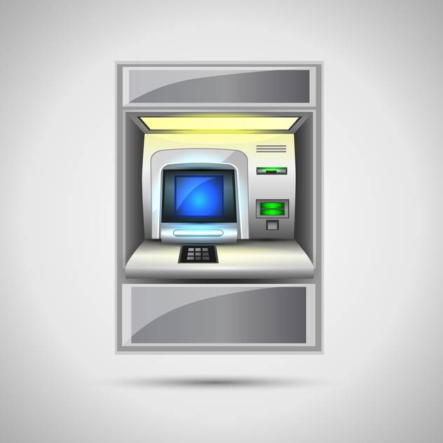 vector illustration of atm on grey background - Kostenloses vector #128019