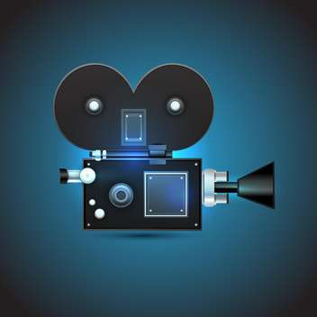 cinema camera on dark blue background - Free vector #128029