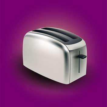 vector illustration of metal electric toaster on purple background - бесплатный vector #128069