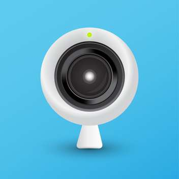 round shaped webcam on blue background - vector gratuit #128079