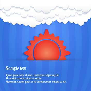 Vector card with sun in sky with blue clouds - Free vector #128099