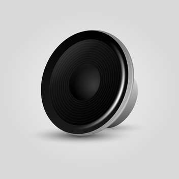 Vector illustration of black speaker on grey background - vector gratuit #128109