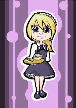 colorful illustration of blonde waitress on purple background - vector gratuit #128119