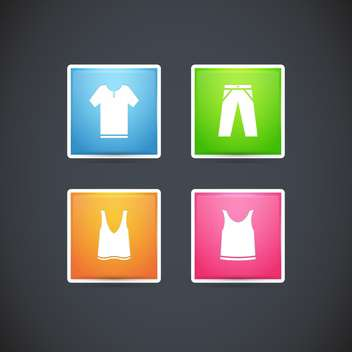 Vector set with clothes colorful icons, on black background - vector gratuit #128159