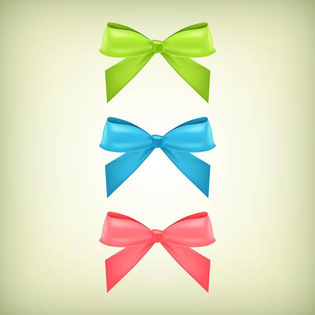 Vector set with colorful bows background - vector gratuit #128209