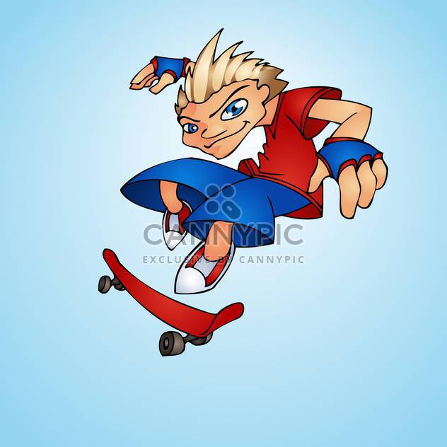 teenager riding on the skateboard - Free vector #128269
