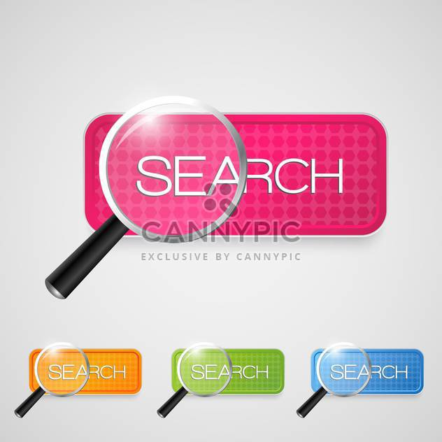 Set with search buttons on white background - Free vector #128279
