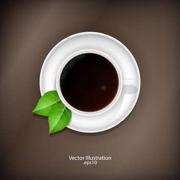 Cup of tea with green leaves illustration - vector #128289 gratis