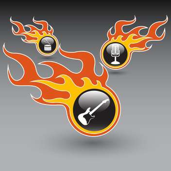 Vector set of musical instruments in the burning bubbles - vector gratuit #128479