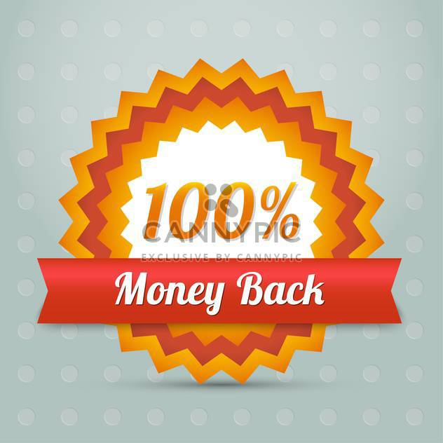 Vector orange money back label with red ribbon - Free vector #128639