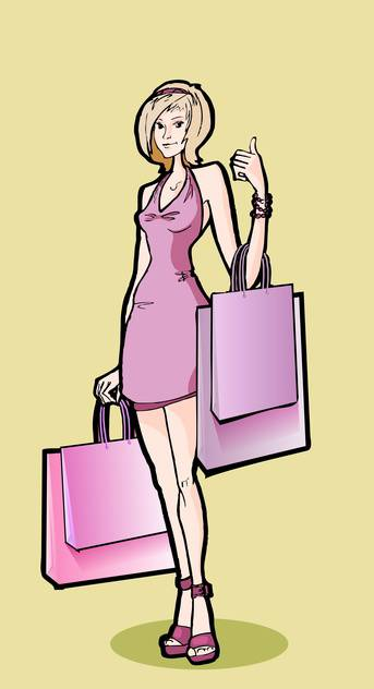 Vector illustration of beautiful woman with shopping bags - Free vector #128669