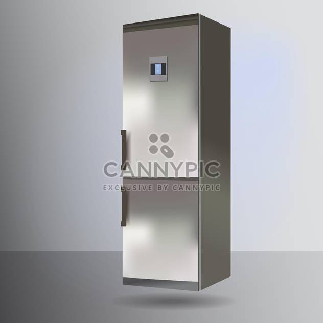 Vector illustration of grey refrigerator flying off from floor - Free vector #128789