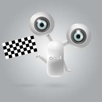 Cute robot with racing flag vector illustration - бесплатный vector #128809