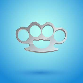 Vector illustration of brass knuckles on blue background - vector #128839 gratis